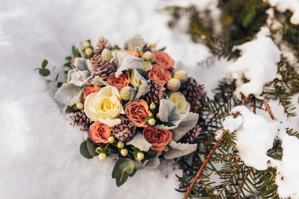 zimná svadobná kytica